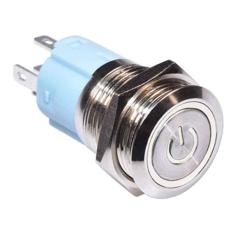 16mm אדום כחול צהוב ירוק לבן אור חם רכב אוטומטי מתכת LED כוח לדחוף כפתור מתג עצמי נעילה סוג ב-off 5V 12V 24V 220V
