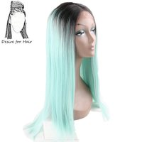 Desire for hair 24inch long heat resistant lace front synthetic wigs for black woman ombre black aqua green color