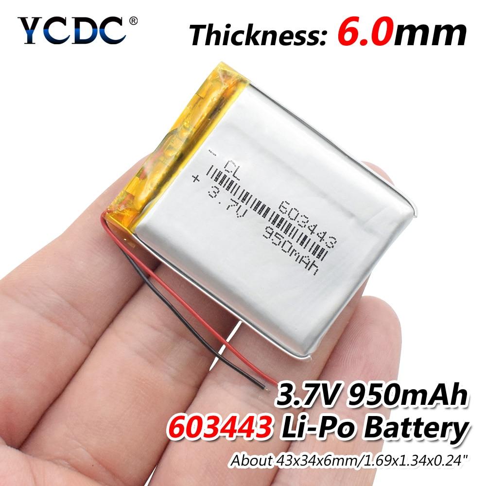 3.7V 950mAh 603443 Lithium Polymer Li-Po Li Ion Rechargeable Battery Lipo Cells For Bluetooth Speaker GPS MP3 MP4 PDA Tachograph