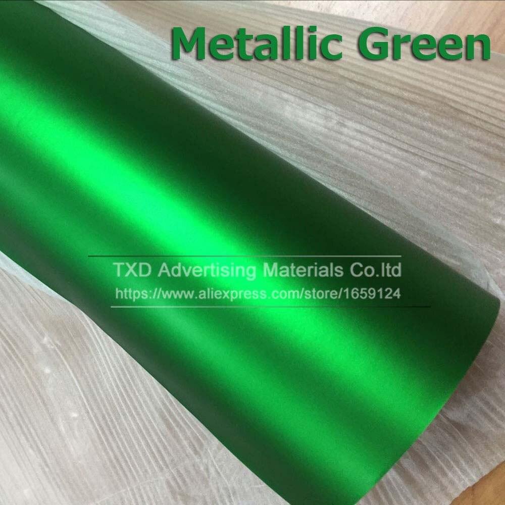 1,52*5 м/10 м/15 м/20 м в рулоне Премиум атласный металлический матовый хром Красный Синий Зеленый Виниловая пленка без пузырей - Название цвета: green