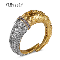 Unique Design Ring Copper jewelry metal in White and Gold color pave High Grade CZ Stones Finger Rings for women