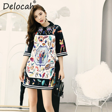 Delocah New 2019 Women Spring Summer Dress Runway Fashion Designer Half Sleeve Gorgeous Beading Casual A-Line Elegant Dresses
