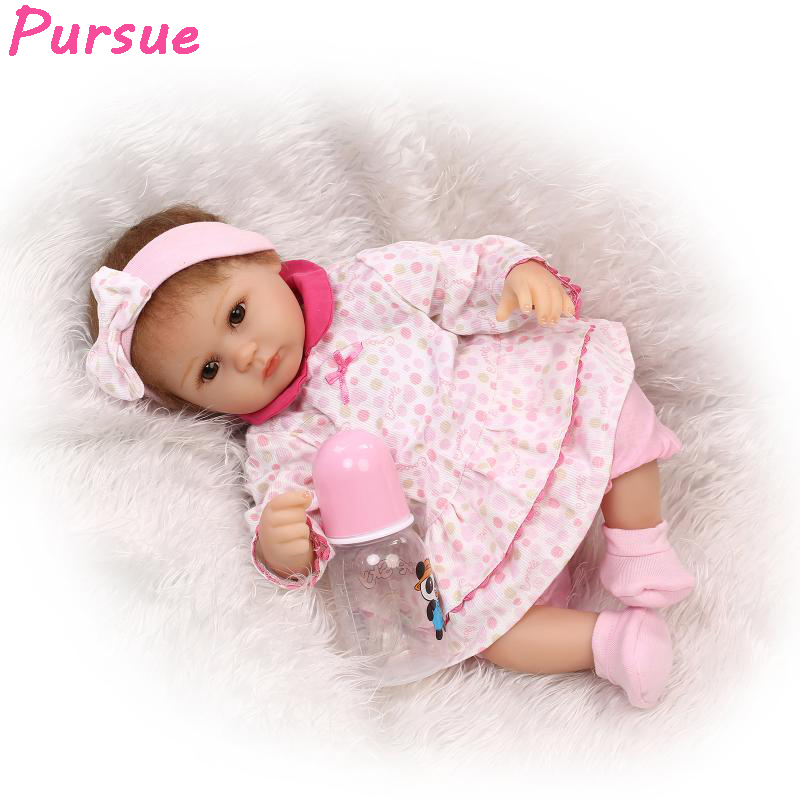 ФОТО Pursue Nicery Reborn Baby Doll Soft Silicone Vinyl 17inch 43cm Lovely Lifelike Cute Baby Boy Girl Toy Pink Suit Sleeping Doll
