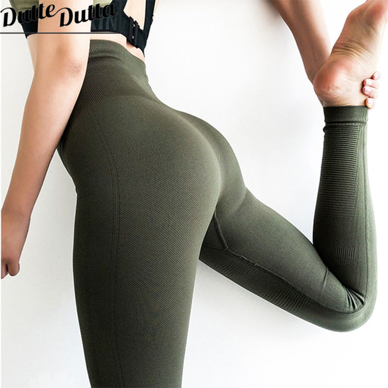 High Waist Leggings Gym Fitness Leggins Sport Green Women Sportwear Tummy Control Running Pants Sports Wear For Women Gym trendy colorful printed high waist wide leg pants for women