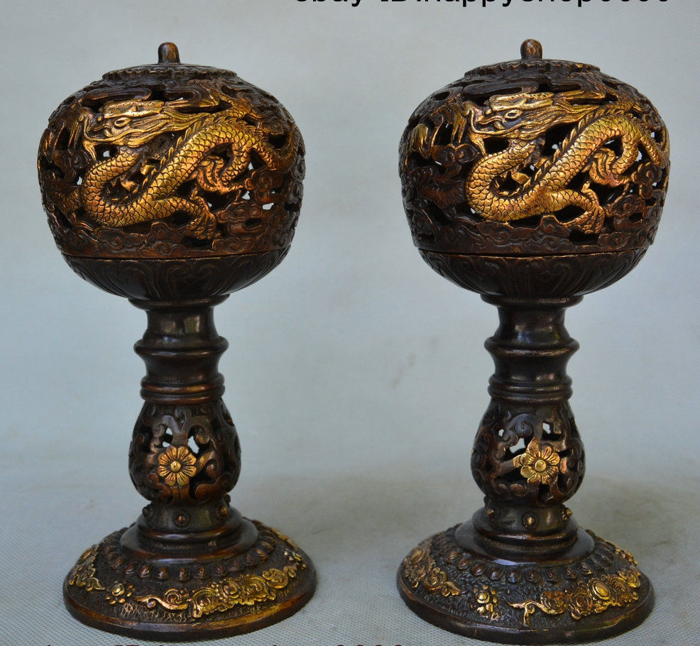 8 Old Chinese Palace Bronze Gilt Dragon Loong Incense Burner Censer Statue Pair8 Old Chinese Palace Bronze Gilt Dragon Loong Incense Burner Censer Statue Pair