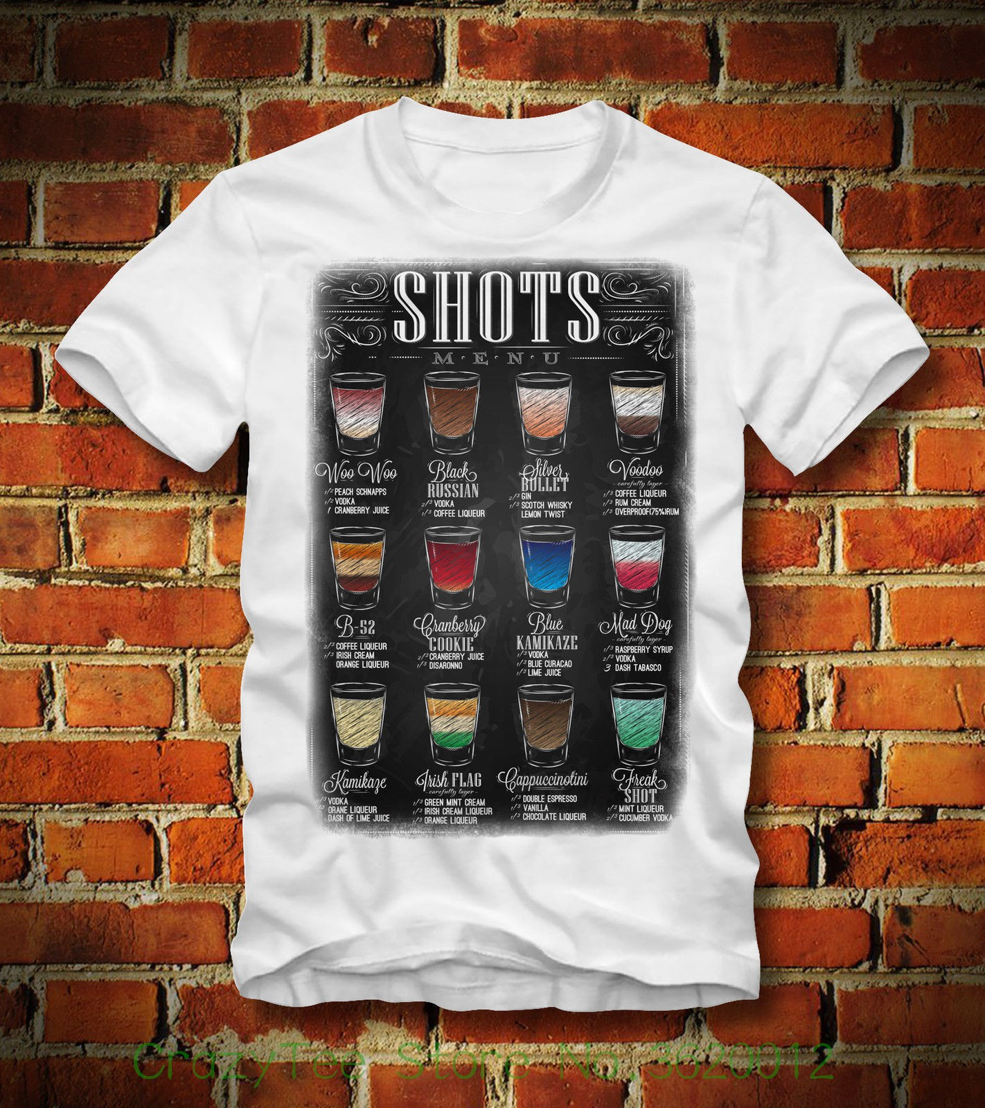 Women's Tee Boardrippaz T Shirt Shots Menu B 52 Black