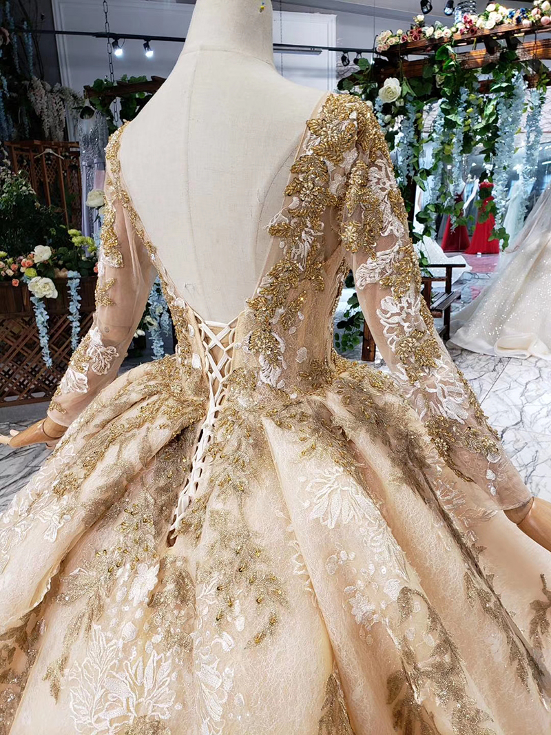 Image 5 - HTL393 luxury golden lace wedding dress with wedding veil o neck long sleeve v back princess bridal dresses golden beads mariage-in Wedding Dresses from Weddings & Events