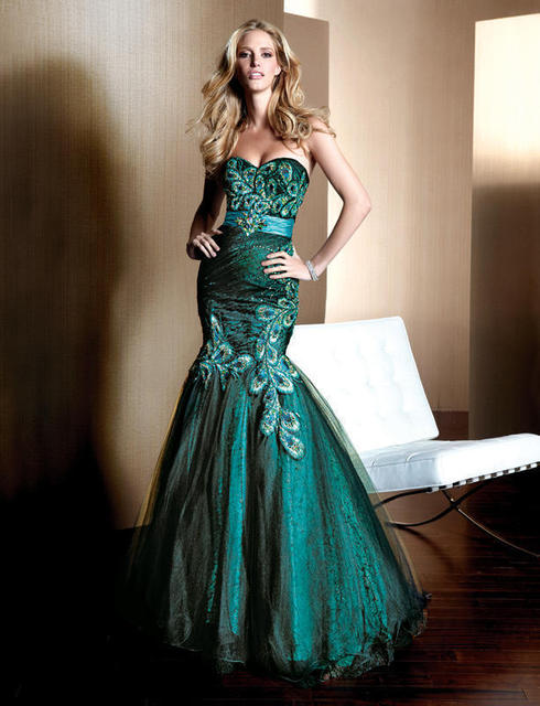 d961fef619 US $139.65 5% OFF|free Shipping Tulle 2018 New Design Hot Seller Mermaid  Peacock Turquoise sweetheart Women Custom beading Prom bridesmaid  dresses-in ...