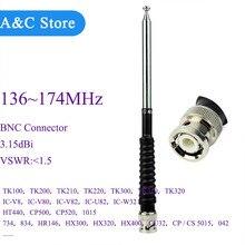 VHF telescopische antenne voor astro 320 BNC 136 ~ 174 MHz voor ICOM TK100 IC V8 HX3 HH1 walkie talkie telescopische antenne 10 stks/partij