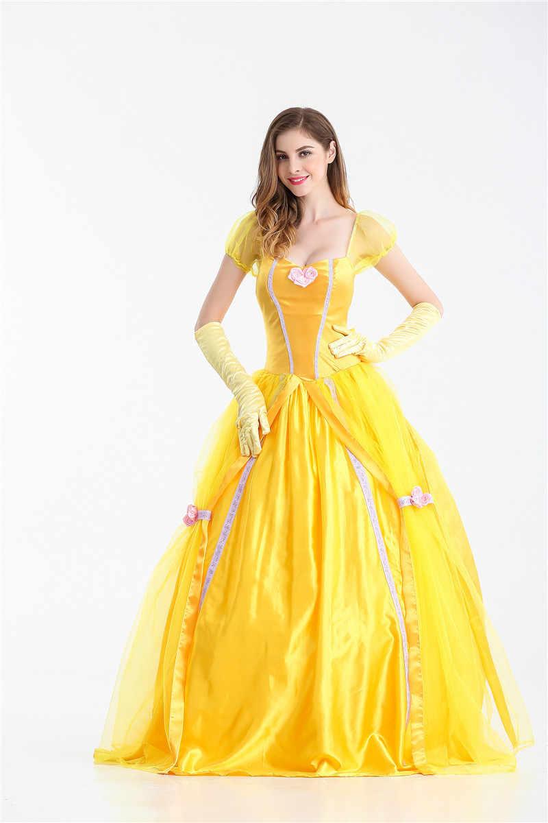 S-XXL nuevo disfraz fantasía de Halloween para mujer Vestido largo de princesa Bella para adultos de color amarillo del sur de La Bella y La Bestia