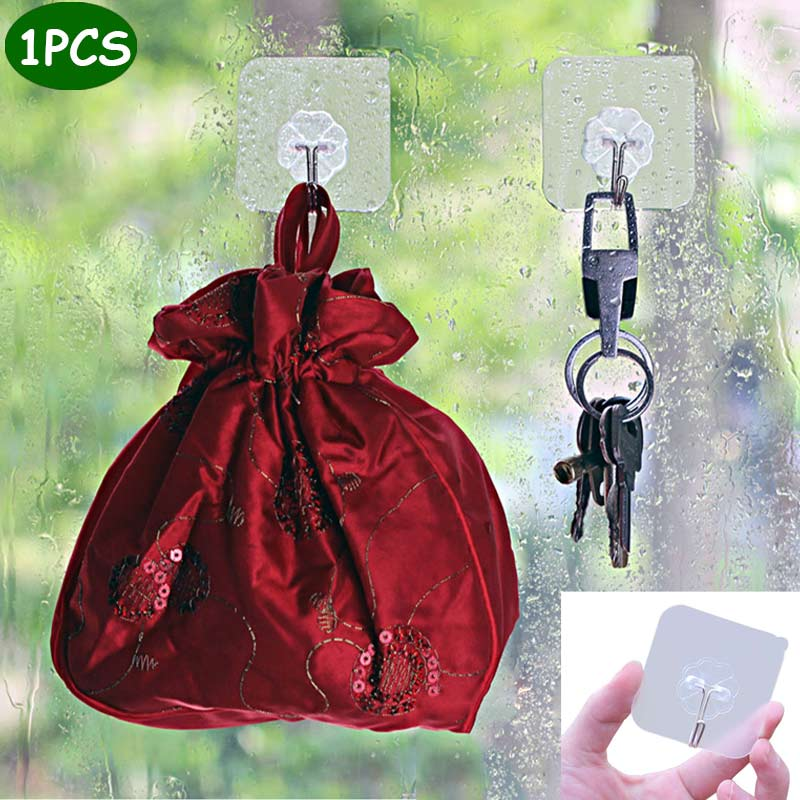 Removable Transparent Multi-Purpose Hooks Home Storage Vacuum Sucker Adhesive Wall Glass Hook  Hooks Bathroom Kitchen Hanger