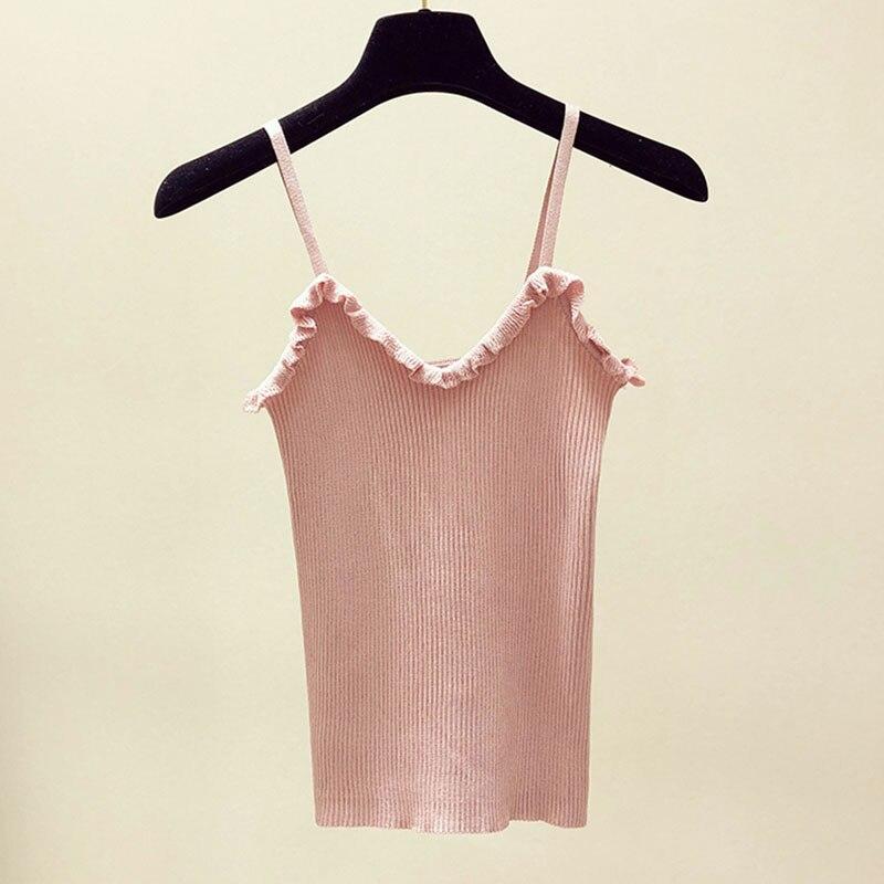 Knitted Tops Bandage Pull-Camis Tanks Ladies Vest White Female Women Summer Sleeveless