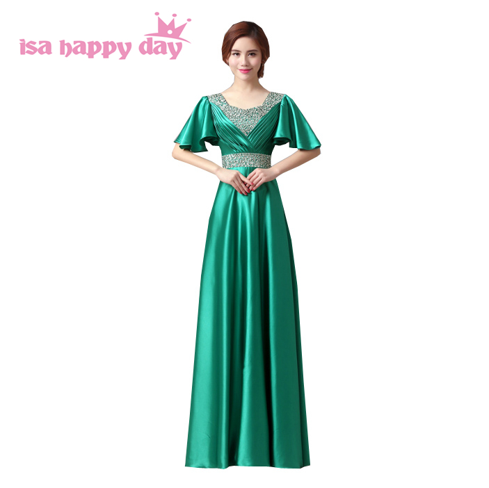 robes mariee formal full figure beautiful bridemaids long green red satin a line cape   bridesmaid     dresses   gown under 100 H1382