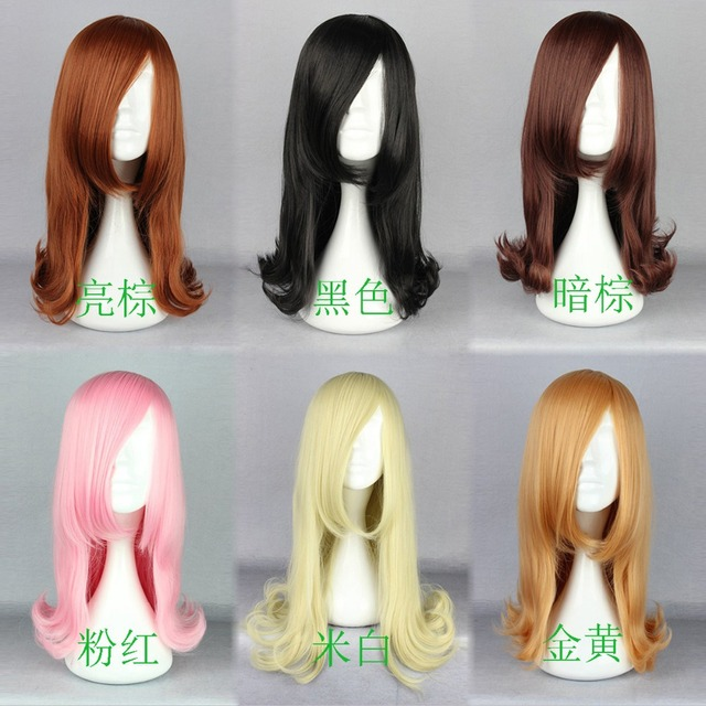 MCOSER Lady Lolita Harajuku Style curly Medium Hair Full Wig Anime Cosplay Party Sexy wig