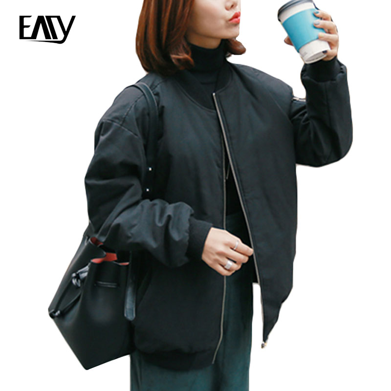 Women Tops Winter Parkas Black Bomber Jacket Women Zipper Women Coat Cool Basic Down Padded Zipper Chaquetas Biker Outwear 2017