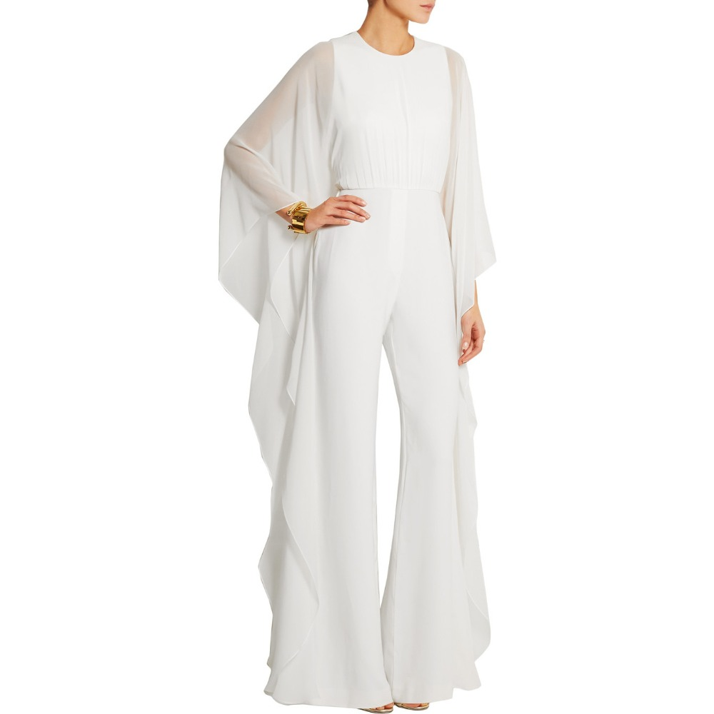 Women's Chiffon Bat Sleeve Wide Legs Formal Evening Jumpsuit Rompers Full Sleeve Long Jumpsuit White Women Sexy Jumpsuit