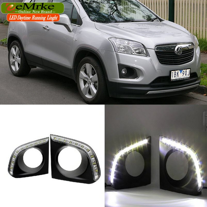 eeMrke Car LED DRL For Chevrolet Holden TRAX 2013-2015 High Power Xenon White Fog Cover Daytime Running Lights Kits  недорого