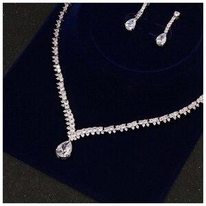Image 3 - Beidal Anhänger Schmuck Sets Zirkonia Hochzeit Halskette und Ohrringe Luxus Kristall Braut Schmuck Sets Für Brautjungfern