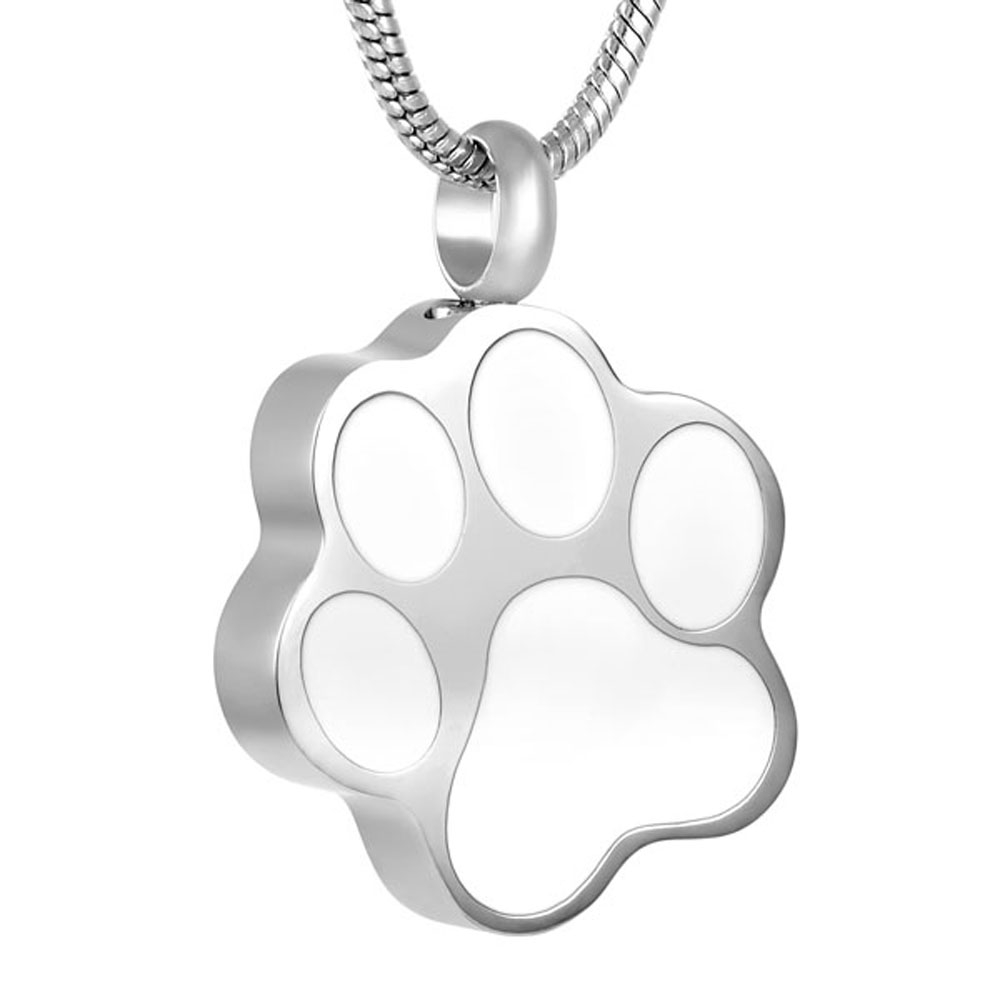 IJD8451 Pet Suspension Paw Print Stainless Steel Memorial Ash Keepsake Cremation Jewelry Accessories for Women&Man