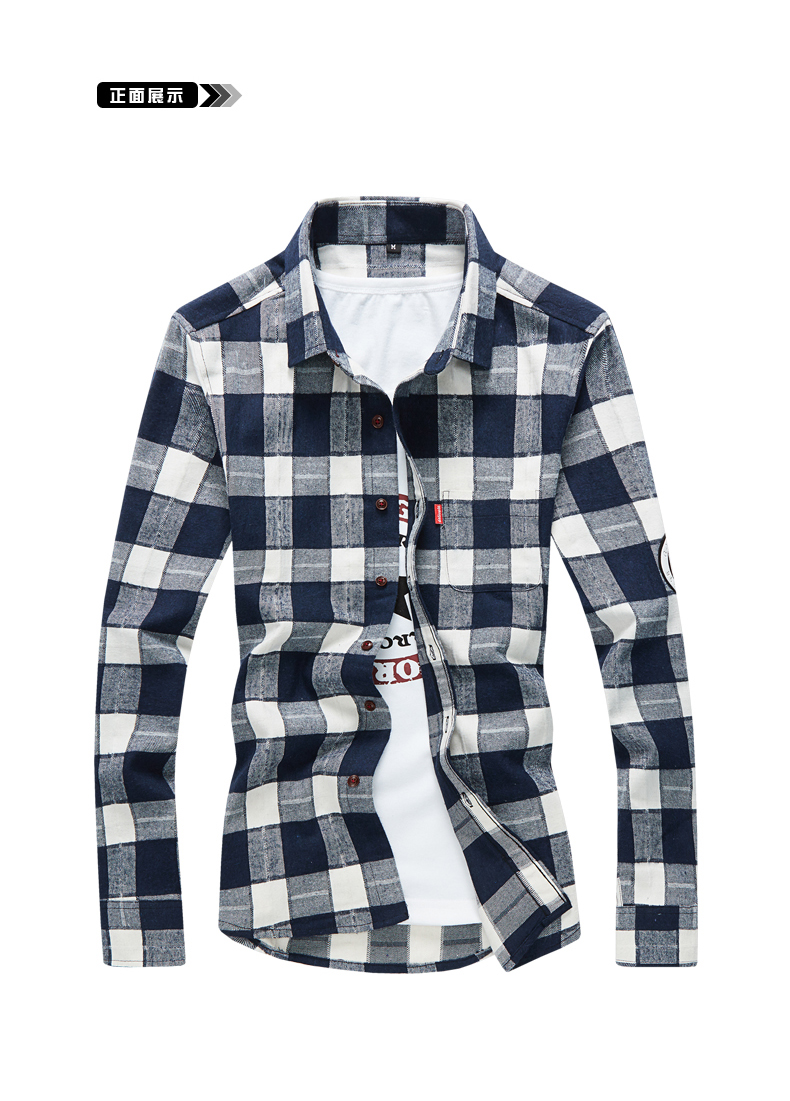 XMY3DWX products sell like hot cakes men long sleeve shirt men grid thin body hair fashion Grinding MAO casual shirt/size S-4XL 51