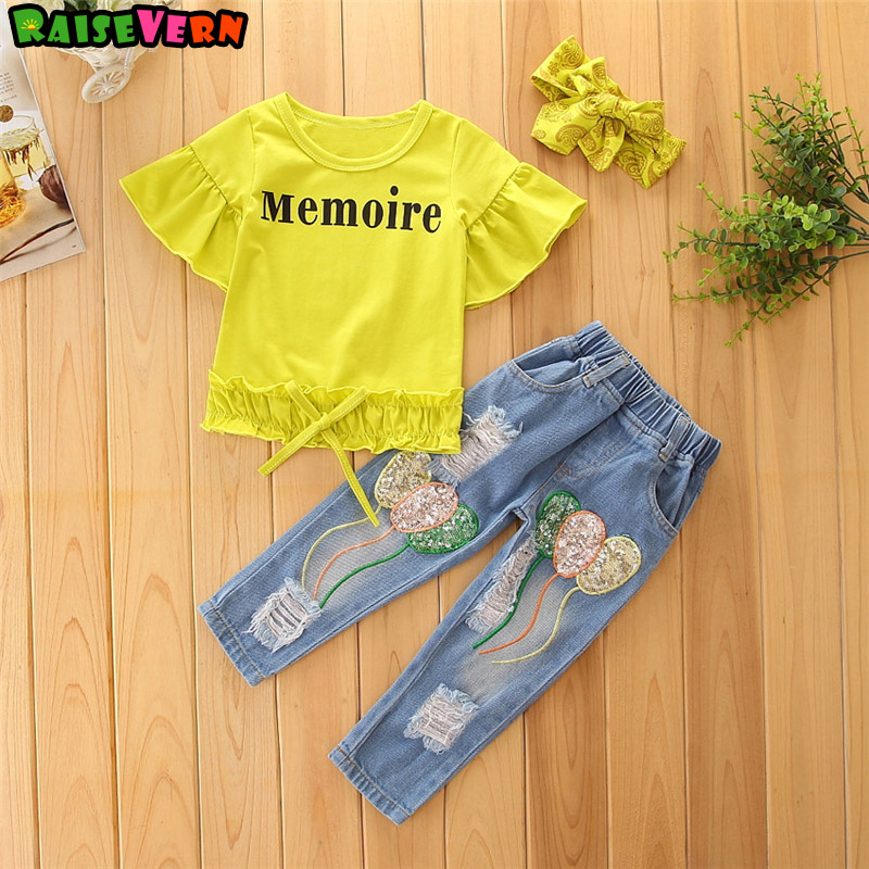 1-6T Kids Girl Letter Lotus Leaf Edge Short Sleeve Shirt+Broken Hole Bright Piece Jeans+Headband 3pcs Sets Children Clothes свитшот bright girl bright girl br029ewndm69