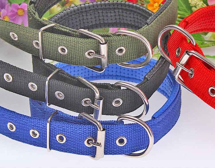 4 Color 5 Size Comfortable Adjustable Nylon Strap Dog Collar For Small And Big Pet Dogs Collars 45-70cm Length RedBuleBlackArmy Green1