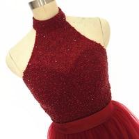 Dresse regresso a casa 2017 vestidos de baile da Cabeçada com pedras vestidos de Formatura formal Vestidos de Festa Bonita borgonha Vestido De Festa