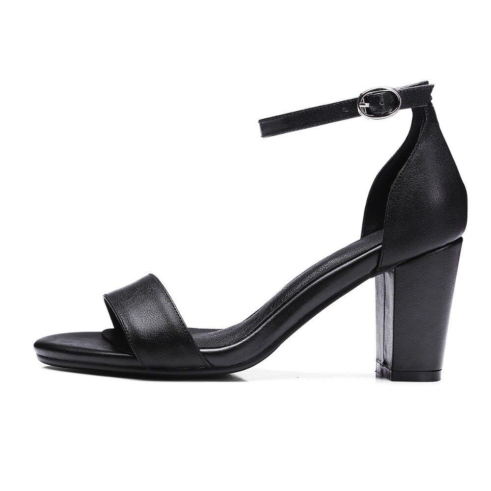 Robe Sandalias Cuir Talons Chaussures Sandales Véritable Black D'été Femmes En À Aiweiyi Hauts Plate white Pompes De Carré apricot Mode forme qtaTg