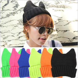 2017 New Genuine Japan Original The Night Wind Men And Women Lovely Devil Angle Ox Horn The Cat Hat Ears Knitting Hat Wool Hats the new children s cubs hat qiu dong with cartoon animals knitting wool cap and pile