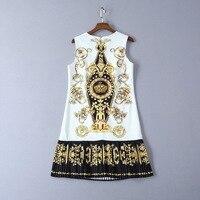 Платья Миланского подиума, платье 2019, белый бисер с принтом, женское платье с круглым вырезом, без рукавов, праздничное платье 692