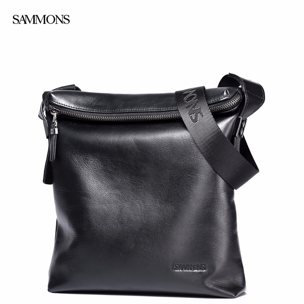 ФОТО SAMMONS Brand Design Fashion Casual Genuine Cow Leather Zipper  Men Shoulder Messenger Business College Bag