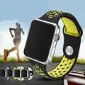 Esporte pulseira de borracha flexível respirável para a série de apple watch band 42mm 38mm pulseira de silicone para acessórios iwatch