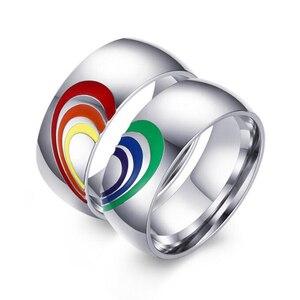 Радужные кольца для женщин и мужчин, ширина 8 мм, кольцо из нержавеющей стали с сердечками, кольца-партнеры с эмалью