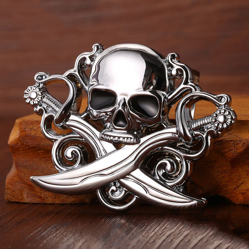 High quality skull belt buckle with metal silver finish Punk rock style for men's belt Fit 3.5cm snap on belt Jeans accessories
