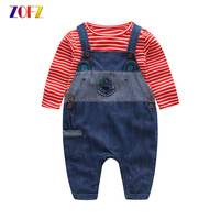 ZOFZ Baby Boy Clothes 2pcs Set Cotton Striped Long Sleeve T Shirt And Jeans Overalls Baby
