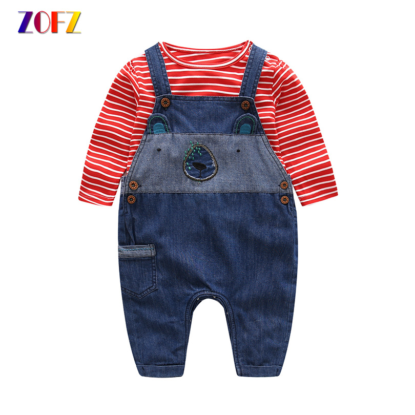 ZOFZ Baby Boy Clothes 2pcs/Set Cotton Striped Long Sleeve T-Shirt and Jeans Overalls Baby Sets For Newborn Baby Boys Clothing 2017 top summer gentleman short baby set boys clothing set baby rompers sleeve t shirt overalls 2pcs suit newborn clothes hot