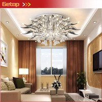Modern Living Room Crystal Ceiling Lamp Post Modern Creative Bedroom LED Crystal Swan Ceiling Lamp G4