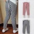 children silm stretch cotton pencil pants kids elastic legging black-white striped leisure trouses