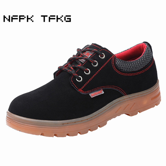 men leisure breathable steel toe caps working safety shoes soft leather anti-pierce sneakers building site security boots zapato