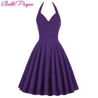 2016 Spring Summer Vintage 50s 60s Women Clothing Vestidos Halter Backless V Neck Halter Nylon Cotton