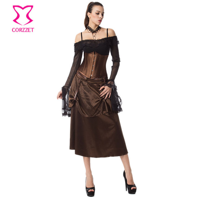 febcf53a99 24 Steel Boned Underbust Corset Brown Skirt Set Steampunk Gothic Clothing  Korsett For Women Sexy Outfits Burlesque Dress