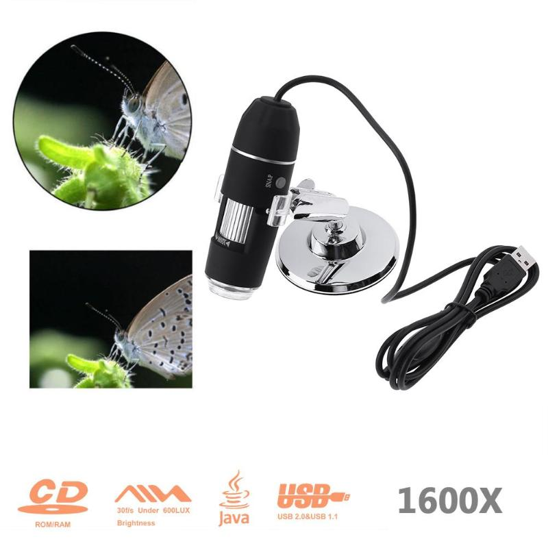 1600X Zoom 8 LED USB Digital Microscope Hand Held Biological Endoscope 2MP Pixel Microscopio Magnifier With Bracket arrival 2 0m pixels usb hand held microscope with 8 led lights se v3 usb500 300