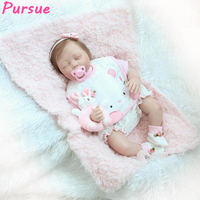Pursue 55cm Sleep Lifelike Baby Dolls for Girl Reborn Silicone Baby Doll for Sale boneca bebe reborn com de silicone menina 55cm