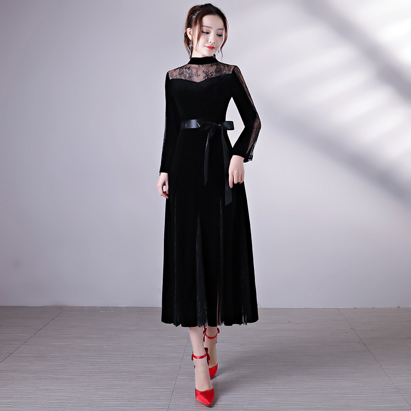 Full manual lace Stain high neck Sexy Star long sleeve Prom Evening dresses 2018 Long sleeves A-Line party Dress E10081