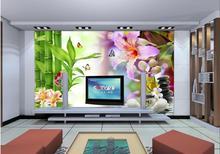3D Tapete Wohnkultur Wohnzimmer Wandverkleidung Stein Lilie Blume Bambus  Wohnzimmer Tapete 3D Malerei