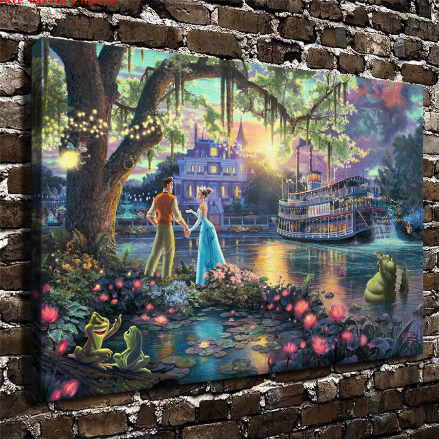 Thomas kinkade the princess and the frog canvas painting - Home interiors thomas kinkade prints ...