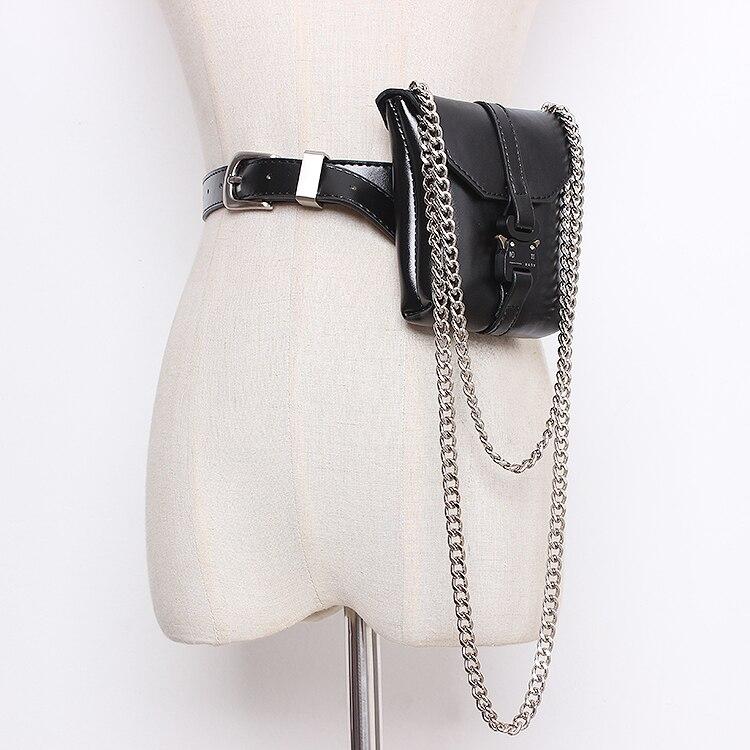 2019 Brand Hgh End Metal Buckle PU Mini Waist Packs Summer Chain Waist Belts Packs Leather Ladies Chest Shoulder Fanny Purse Bag