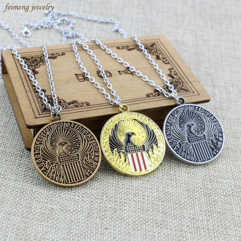 Movie Fantastic Beasts and Where to Find Pendant Them Magical Congpess of Tbflinited Statesd Ambrica Logo Necklaces Dropshipping