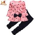Monkids Baby Girl Set Heart-shaped Impressão Arco Bonito 2 PCS Kid Set T shirt + Calças Bonito Princesa crianças Conjunto de Roupas Roupas de Recém-nascidos
