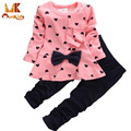 Monkids Baby Girl Set Heart-shaped Print Bow Cute 2PCS Kid Set T shirt+Pants Cute Princess Kids Clothing Set Newborn Clothing
